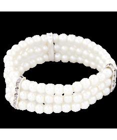 Bracelet Perle Blanche Triple Epaisseur