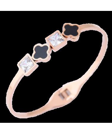 Bracelet Titane Trefle et Carré
