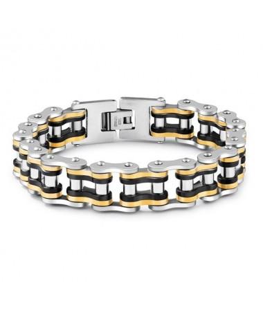 Bracelet Acier Chaine Moto Argent/Or/Noir