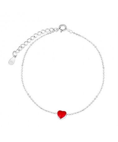 Bracelet Chaine Coeur Rouge