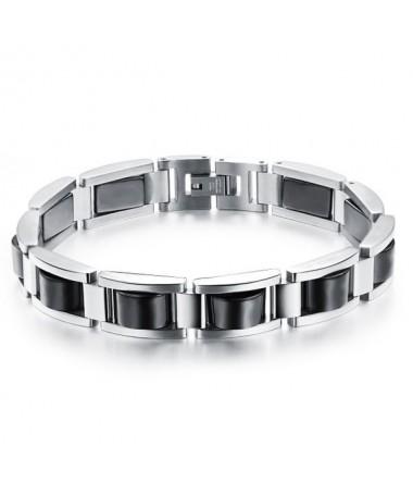 Bracelet Acier Argent Noir