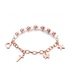 Bracelet Chaine Perle 4 Breloques