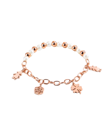 Bracelet Chaine Perles 4 Breloques
