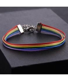 Bracelet Cordon Arc en Ciel