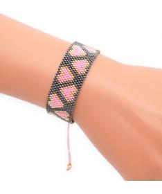 Bracelet Miyuki Coeurs Noir
