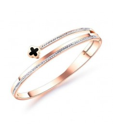 Bracelet Jonc Titane Trefle Diamant