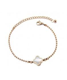 Bracelet Trefle Perle Lena Blanc Noir