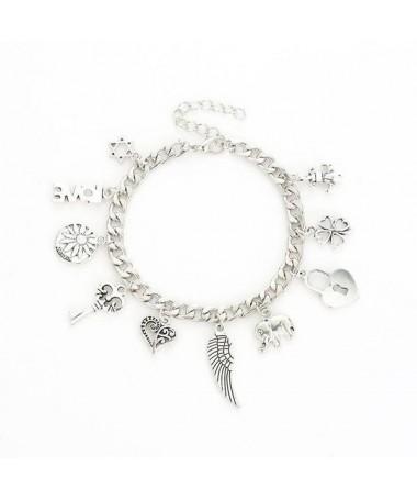 Bracelet Chaine Aile Clé Coeur