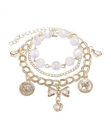 Bracelet Chaine Disque Metal Cristal