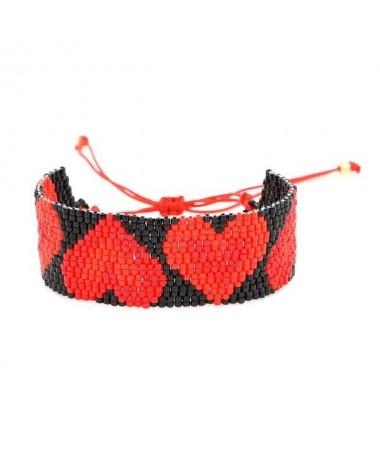 Bracelet Miyuki Coeur Rouge