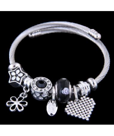 Bracelet Charms Coeur Fleur