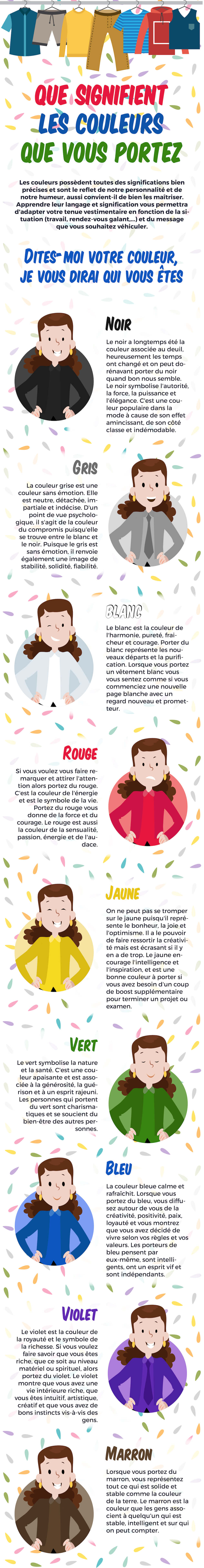 Infographie signification couleurs femme